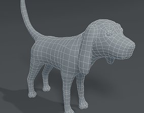 Cartoon Dog Hound Base Mesh 3D Model low-poly