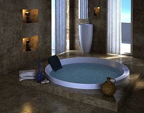 3D Spa With Jacuzzi And Marble Interior