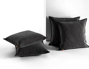 Black Pillow Set 3D model matte