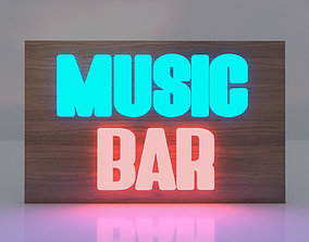 3D Music Bar Board Glowing Text