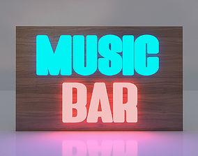 3D Music Bar Board Glowing Text