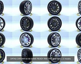 ORTAS CAR RIM 55-56 GAME READY RIM TIRE AND DISC 3D