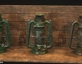 3D asset low-poly Oil Lantern - 3 texture variations
