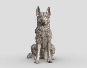 High-Poly Police German Shepherd dog for 3D Printing