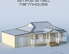 3D Small Weatherboard Farm House porch