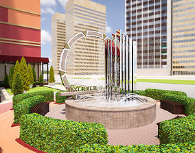 Fountain with water and other stuff 3D