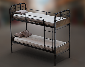 3D model PBR Bunk Bed with Mattress and Pillows