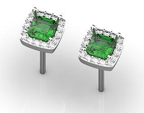 3D print model Emerald and diamond studs earrings