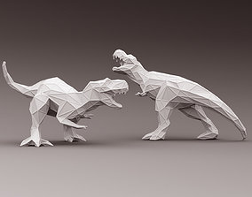 animal 3D PRINTED MODEL T-REX -Line-surface-cut-style