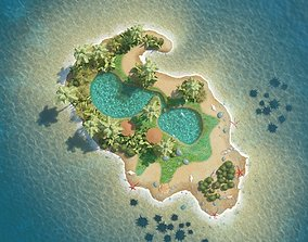 Island Scene forest 3D
