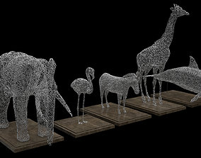 Animals Wire Statues 3D model
