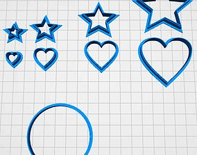 cookie cutter circle star heart 3D printable model