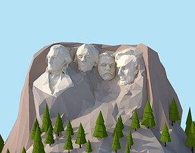 3D asset Cartoon Low Poly United States Rushmoor Landmark