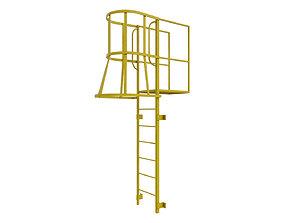 Fire escape stair Yellow 3D asset
