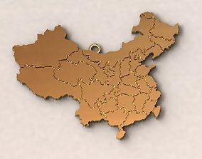 3D print model China Map Charm Pendant
