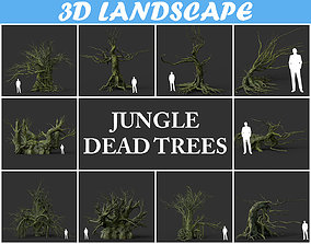 Low poly Mossy Jungle Dead Tree Pack 191217 3D model