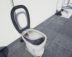 3D asset VR / AR ready Old Toilet