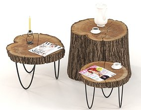 3D model Slab and stump coffee tables