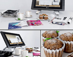 Journals Decorative Coffee Cupcakes Tablet 3D