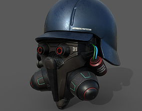 Helmet scifi military combat 3d model VR / AR ready 1