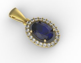 3D print model simple pendant with gems