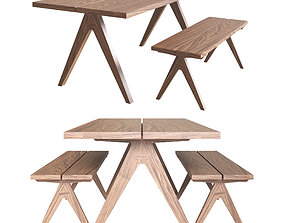 Split Top Dining Table and Bench 3D model