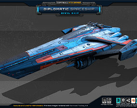 Diplomatic Spaceship 3D asset