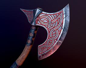 3D asset game-ready Viking battle axe