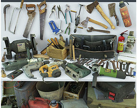 Collection old tools PBR 3D model