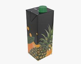 3D model Juice 1000ml cardboard box packaging with cap