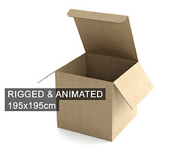 3D model Cardboard Box 195x195cm - Rigged and Animated