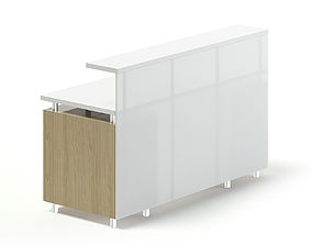 White and Wooden Reception Desk 3D