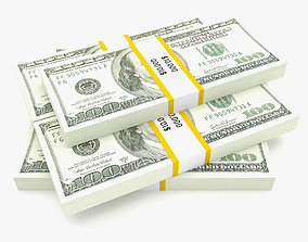 Bank Collection - 100 Dollar Bill Pack 3D model