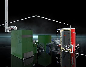 3D equipment Industrial Boiler Room on wood pellets