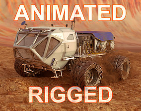3D Mars Rover Rigged Animated with mars environment scene