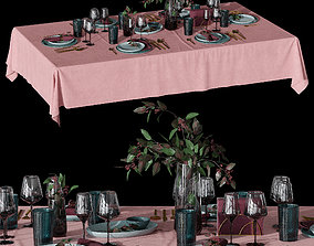 3D model Table setting with eucalyptus