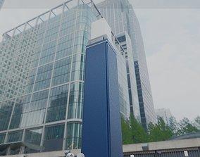 3D asset Street Light 8 Bollard 900mm Futuristic Blue 2
