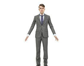 3D model Business man in a grey suit