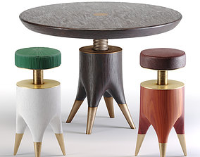 3D model Mushroom Table And Molar Stool