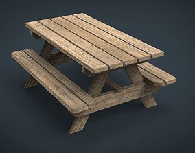 Camping Wood Table 3D asset