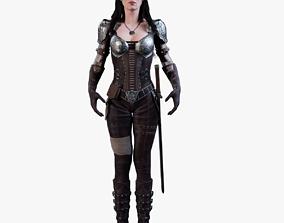 3D Warrior Female model rigged