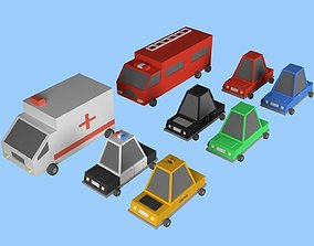 3D model Low Poly City Cars