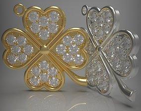 Clover pendant with gems 3D printable model