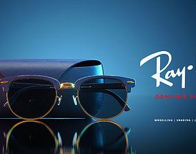 3D model RayBan Glasses and Case Low Poly