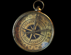 brass 3D Old Fashioned Brass Compass