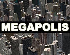MEGAPOLIS - 3d city model downtown animated