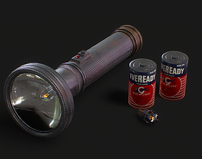 3D model Vintage Police Flashlight with Batteries and Bulb