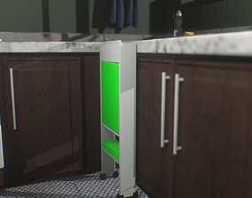 Simple kitchen and a container 3D model