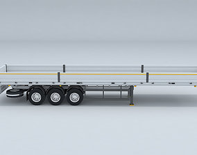 Flatbed Trailer For Semi Truck Low-poly model -3D 1