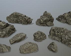3D model VR / AR ready rocks set mount